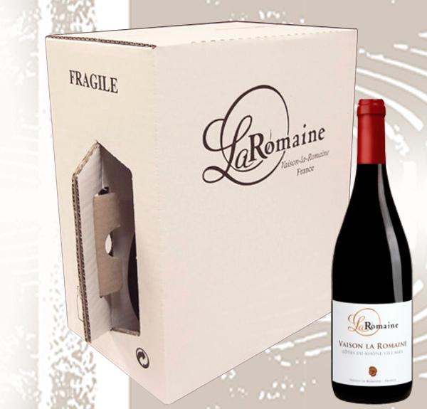 Carton bouteilles vins poignée integrée