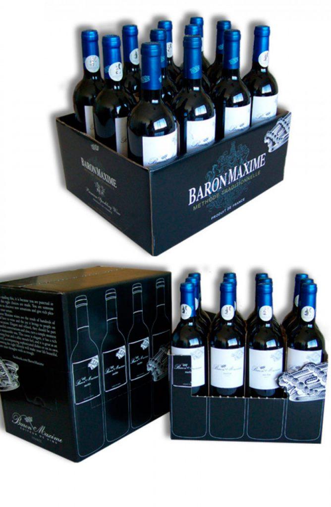 Cartons vin avec pré-découpe
